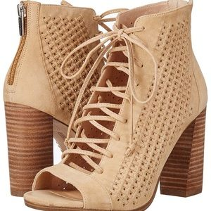 Kevina Perforated Lace-Up Booties